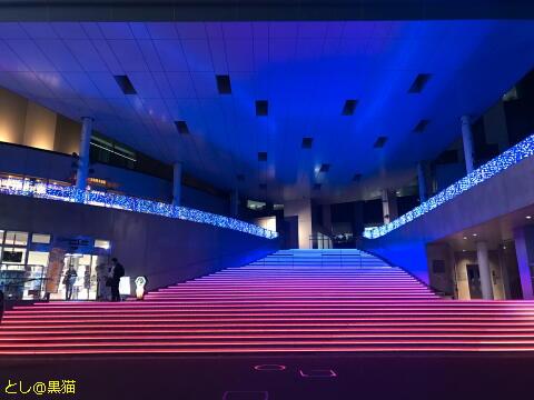 ガンダムカフェ前の光の階段