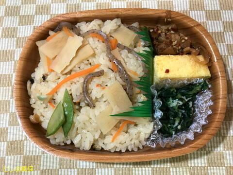 炊き込みご飯と豚のピリ辛炒め弁当
